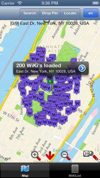 تطبيق Wiki to Map لعرض مقالات ويكي بحسب الموقع