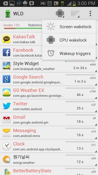 تطبيق Wakelock Detector راقب حالة بطاريتك