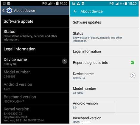 هاتف Galaxy S4 : مقارنة بين نظامي Android 5.0 Lollipop و Android Kitkat 4.4.2 !