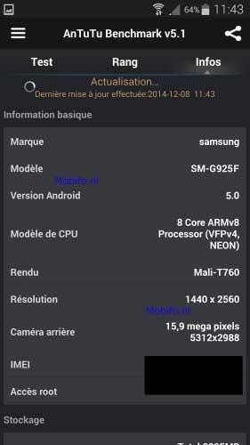 تسريب مواصفات جهاز جالاكسي S6 بعد اختبار الأداء