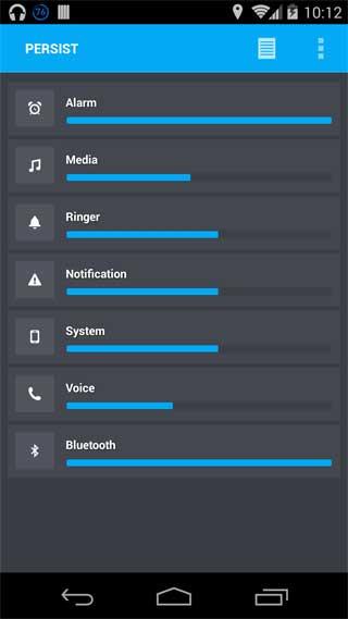 تطبيق Persist, Volume Control للتحكم في الصوت للاندرويد