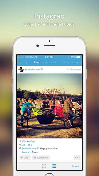 تطبيق Instagrab لإدارة وتحميل صور انستغرام