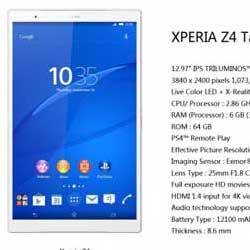 تسريبات جديدة حول اللوحي Xperia Z4 Tablet Ultra