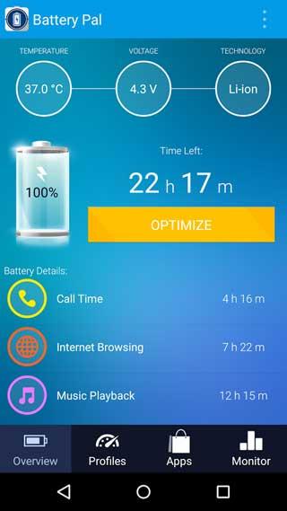 تطبيق Battery Pal للمحافظة وإدارة البطارية