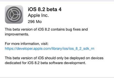 آبل تقوم بإطلاق النسخة الرابعة من iOS 8.2 التجريبي للمطورين