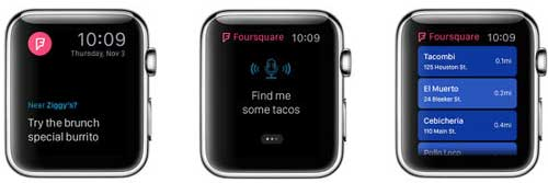 تطبيق فورسكوير على ساعة آبل