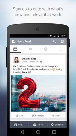 تطبيق Facebook at Work شبكة اجتماعية
