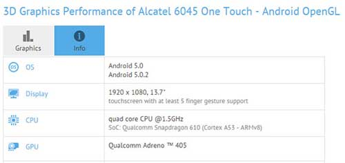 تسريب مواصفات جهاز Alcatel 6045 القادم قريبا