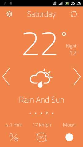 تطبيق oWeather لعرض حالة الطقس بتصميم جميل