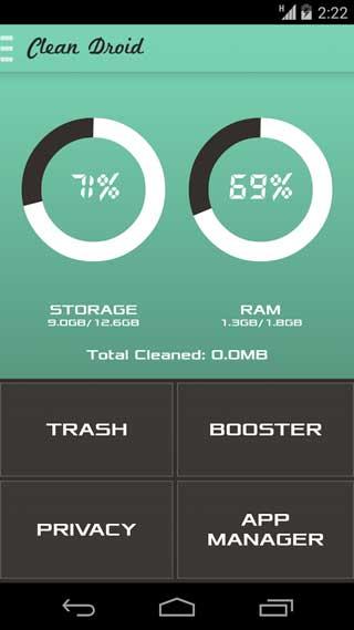 تطبيق Clean Droid لحذف الملفات الزائدة ومزايا كثيرة