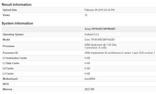 مواصفات Xperia Z4 من خلال تطبيق اختبار الأداء
