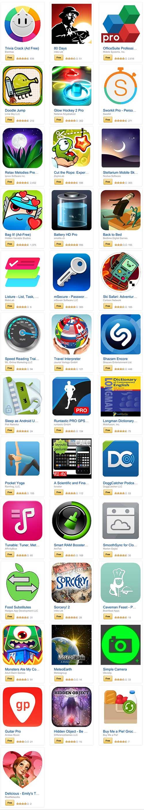 أكثر من 30 تطبيق أندرويد مدفوع أصبح مجانا لوقت محدود