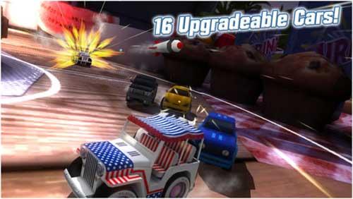 لعبة Table Top Racing سباق سيارات حربية مميزة