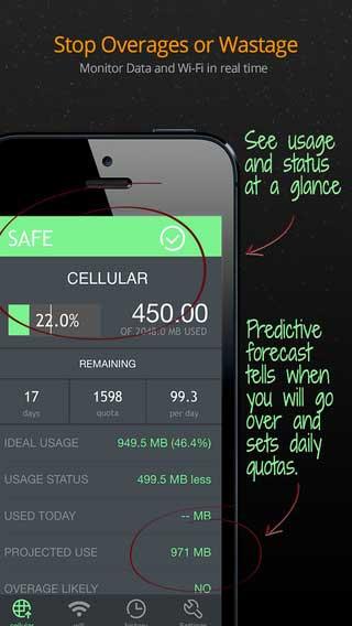 تطبيق Data Usage Pro لمتابعة استهلاك البيانات