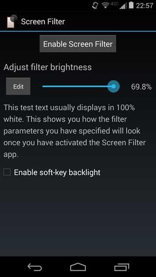 تطبيق Screen Filter للتحكم في سطوع الشاشة للاندرويد
