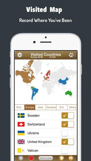 تطبيق Visited Countries Map لهواة السياحة وزيارة البلدان