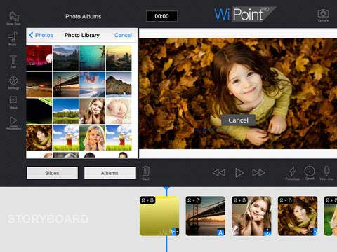 تطبيق WiPoint HD لإنشاء مقاطع فيديو من الصور