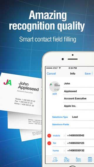 تطبيق Business Card Reader Pro لتحويل البطاقات إلى الأيفون