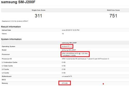 مواصفات جهاز Galaxy J2 القادم من خلال اختبار الأداء