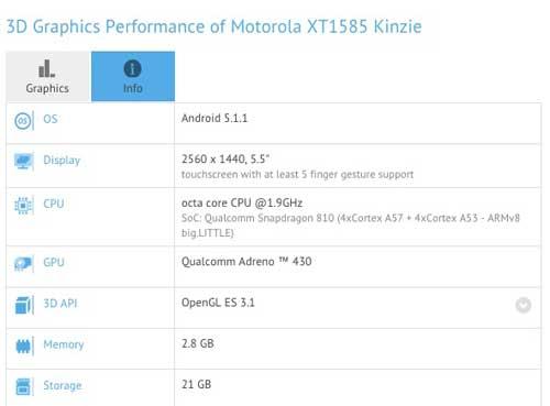 تفاصيل ومواصفات مسربة لجهاز موتورولا Kinzie