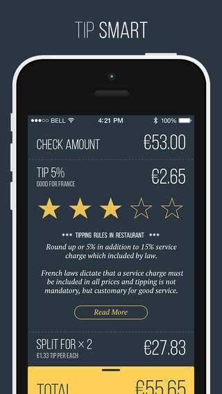 تطبيق Fancy Tips لمعرفة مصاريف الخدمات والبقشيش في كل الدول