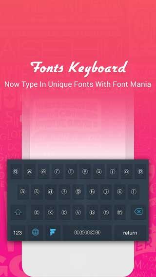 تطبيق Font Mania لوحة مفاتيح بملصقات رائعة وحروف مزخرفة - مجاني، راقي ومميز