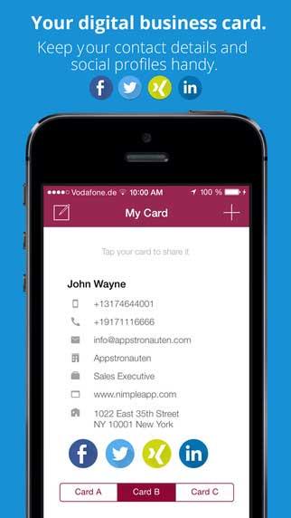 تطبيق Nimple لتبادل بطاقات الأعمال بسرعة وفاعلية