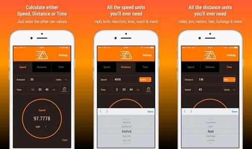 تطبيق Speed Distance Time Calculator لقياس السرعة والمسافة والوقت