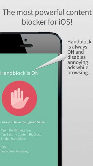 تطبيق Handblock لمنع ظهور الإعلانات وتتبع المواقع