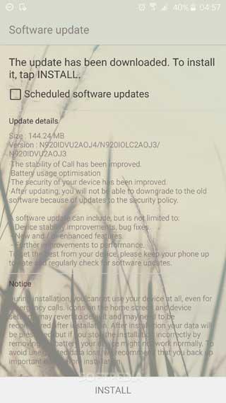 تحديث جديد لجهاز جالاكسي نوت 5 لتحسين البطارية والنظام