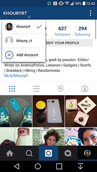 تطبيق Instagram على الأندرويد يبدأ دعم تعدد الحسابات