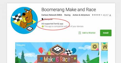 جوجل بلاي سيظهر لك إن كان هناك إعلانات داخل التطبيقات
