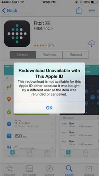 مشكلة Redownload Unavailable with This Apple ID
