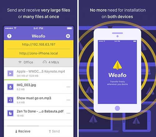 تطبيق Weafo لنقل الملفات بين الايفون والحاسوب