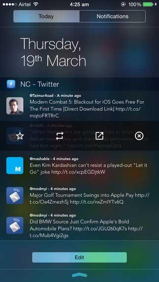 تطبيق NC لتصفح حسابك تويتير من خلال مركز الاشعارات