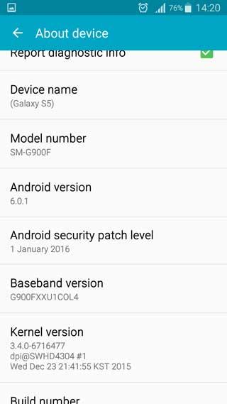 صور - مستخدم يحصل على تحديث الأندرويد 6.0.1 لجهاز جالاكسي S5 بالخطأ