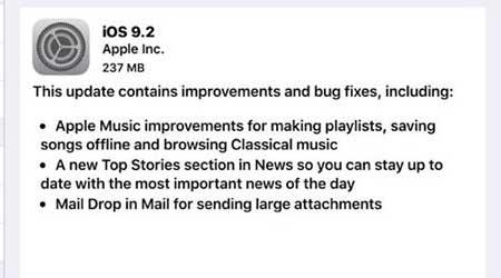 آبل تطلق رسميا التحديث الجديد iOS 9.2 - ما الجديد والمميزات ؟
