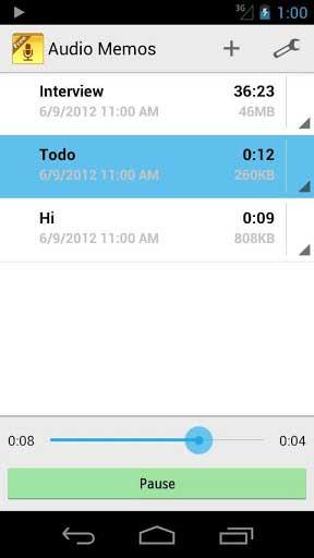 تطبيق Audio Memos Free لتسجيل ملاحظات صوتية