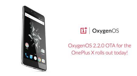 صورة بدء تحديث جهاز OnePlus X بإصدار OxygenOS 2.2.0 المميز