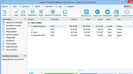 صورة برنامج EaseUS Partition Master لإدارة القرص الصلب لحاسوبك الماك والويندروز