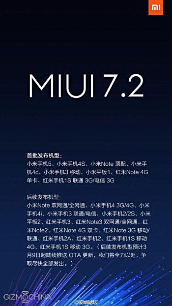 شياومي تطلق تحديث MIUI 7.2 للدفعة الثانية من أجهزتها
