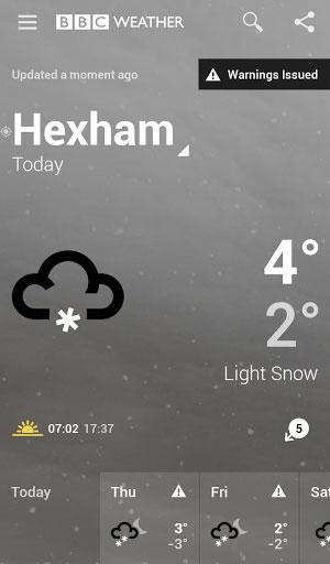 تطبيق BBC Weather لمتابعة حالة الطقس بدقة