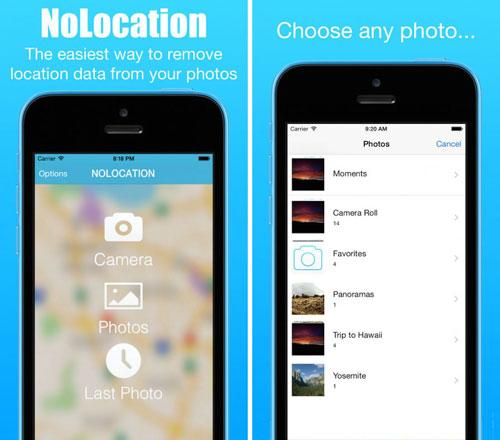 تطبيق NoLocation لحذف معلومات الصور