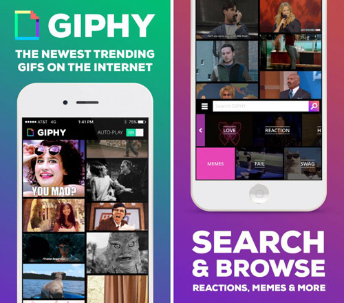 تطبيق GIPHY. All the GIFS للبحث عن الصورك المتحركة