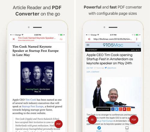 تطبيق InstaWeb لتحويل مواقع الويب إلى PDF