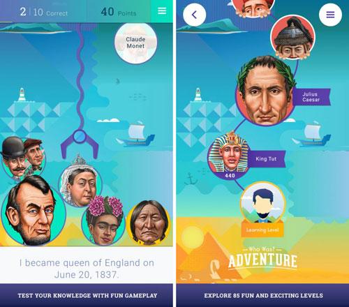 تطبيق Who Was? Adventure التعليمي والمميزة