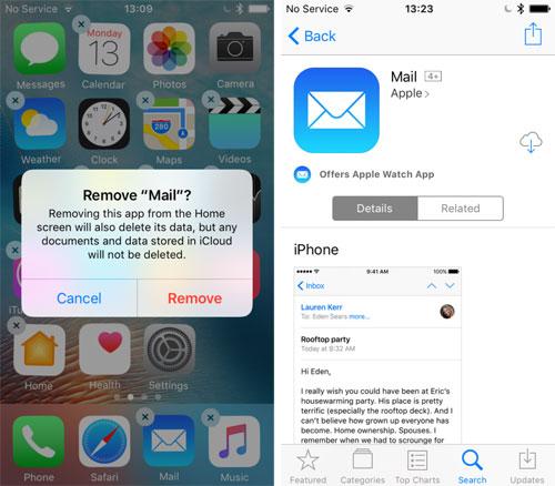 حذف التطبيقات الرسمية عبر iOS 10