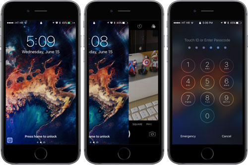 تغيير طريقة فتح شاشة القفل في الإصدار iOS 10