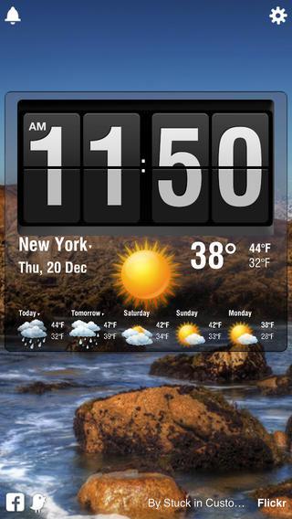 تطبيق Flip Clock منبه وعرض حالة الطقس