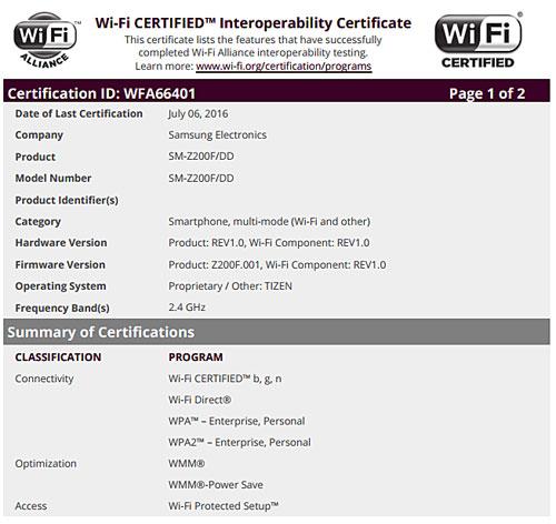 جهاز Samsung Z2 يحصل على تصريح Wifi - قادم قريبا